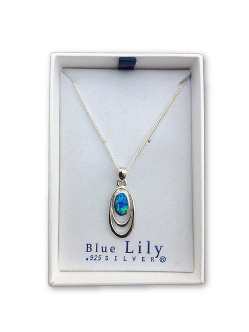 Oval Wire Blue Opal Pendant