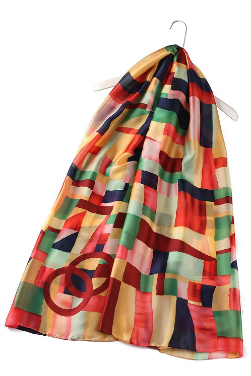 Block Colour Patchwork Silk Scarf