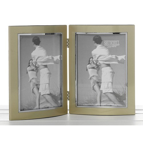Gold Anodised Double Photo Frame 4 x 6
