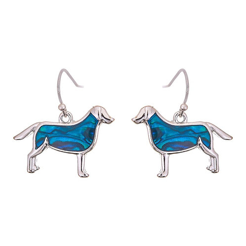 Paua Shell Labrador Dog Drop Earrings