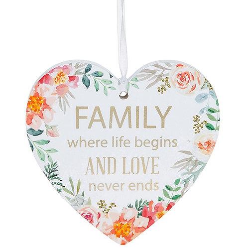 Fleur Heart Plaque Family