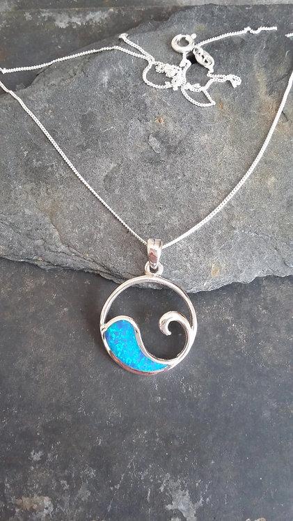 Wave Blue Opal Pendant