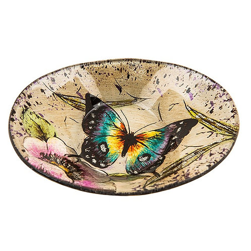 Peacock Butterfly Glass Mini Oval Bowl