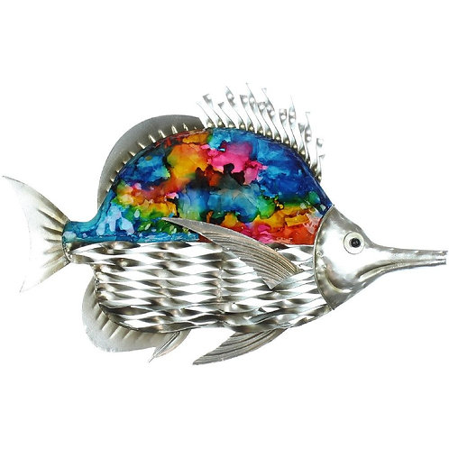 Country Living Hand Painted Metal Fish