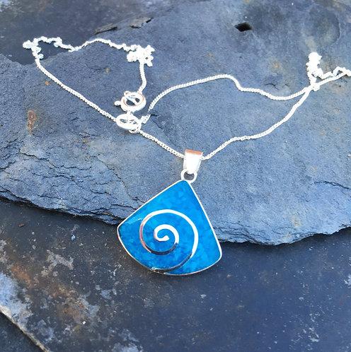 Blue Wedge Shaped Swirl Pendant