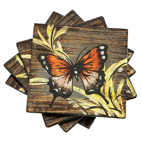 Amber Butterfly Glass Coasters