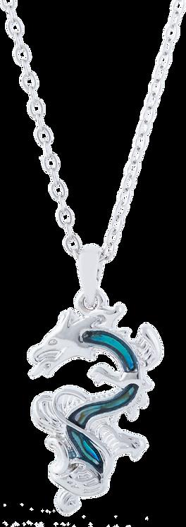 Paua Shell Chinese Dragon Necklace