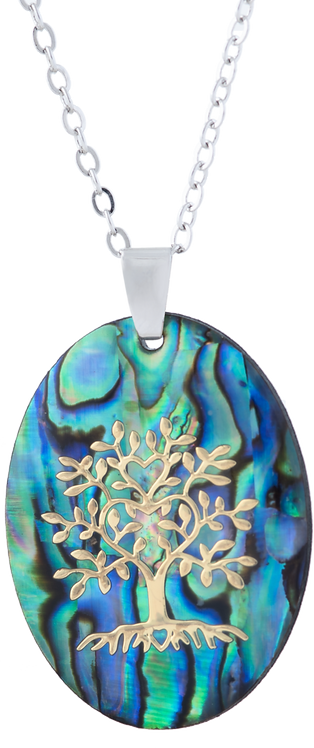 Paua Shell Oval Necklace with Tree Of Life
