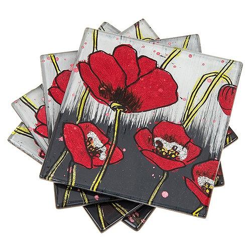 Modern Poppy Coasters