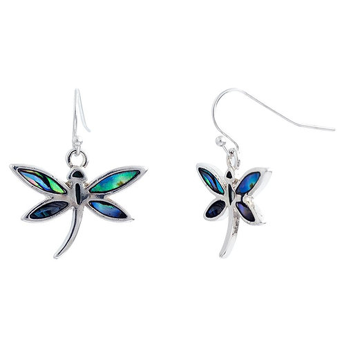 Paua Shell Dragonfly Drop Earrings