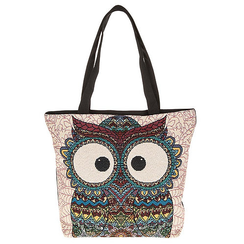 Decorative Owl Tote Bag Cream