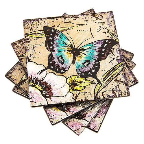 Peacock Butterfly Glass Coasters