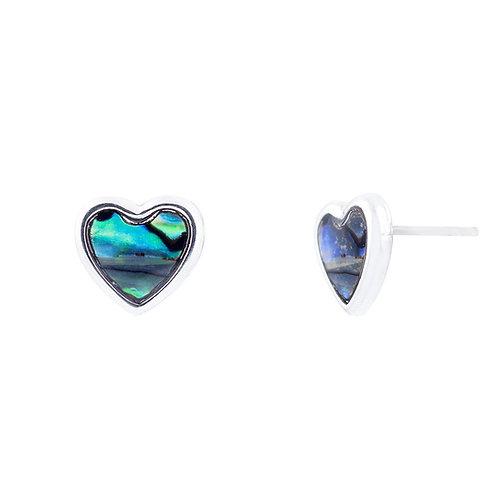 Paua Shell Heart Stud Earrings