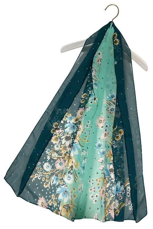 Dotty Ombre Floral Print Chiffon Scarf