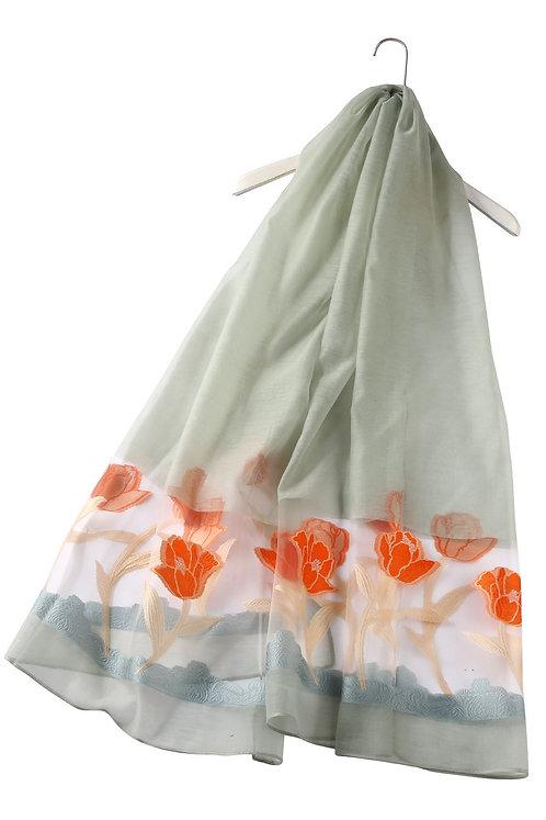 Sheer Tulip Print Silk Mix Scarf