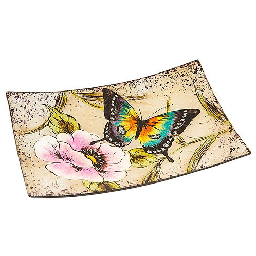 Peacock Butterfly Small Rectangular Glass Plate