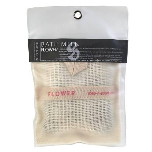 Flower scented soap/bath mitt.
