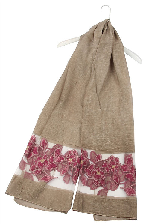 Embroidered Water Lily Silk Mix Scarf