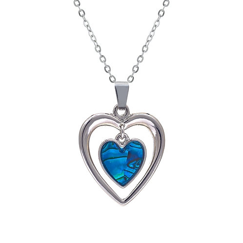 Paua Shell Heart within Heart Necklace