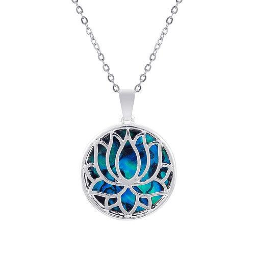 Paua Shell Lotus Blossom Pendant