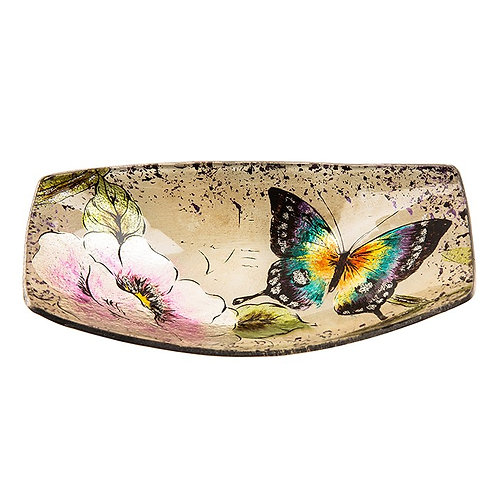 Peacock Butterfly Small Glass Boat Dish