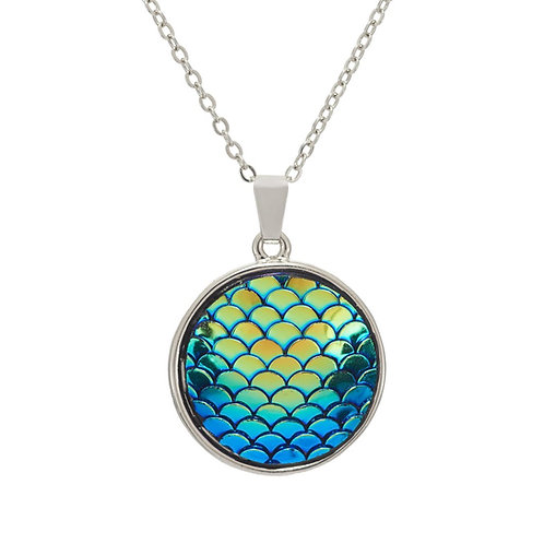 Paua Shell Rainbow Round Necklace