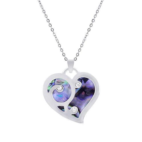 Paua Shell Cute Heart Necklace
