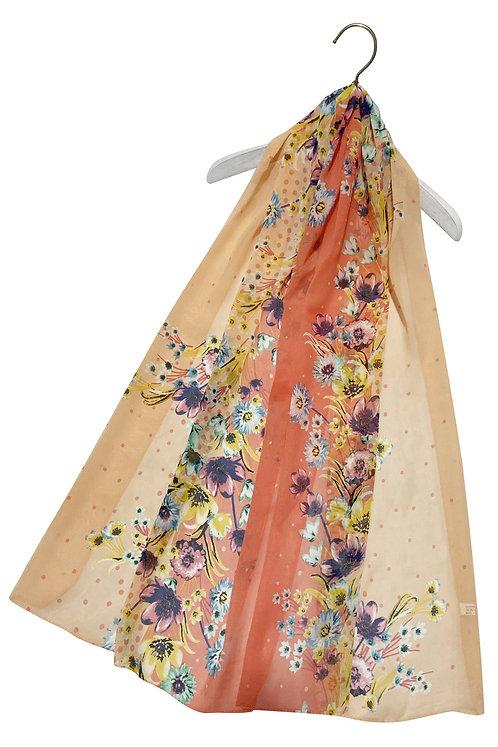 Dotty Ombre Floral Print Chiffon Scarf
