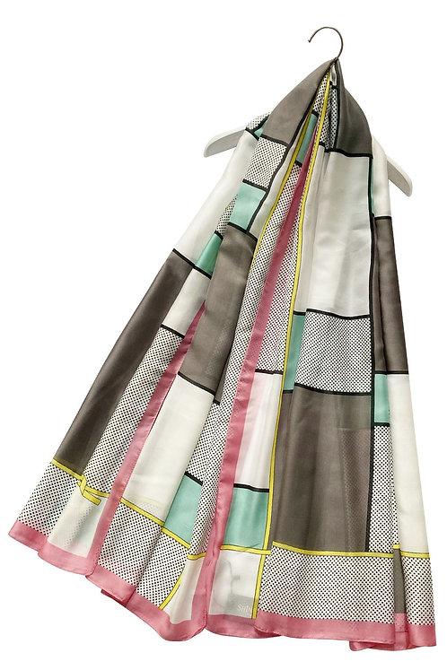 Dotty Grid Print Silk Mix Scarf