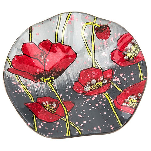 Modern Poppy Small Round Glass Dish