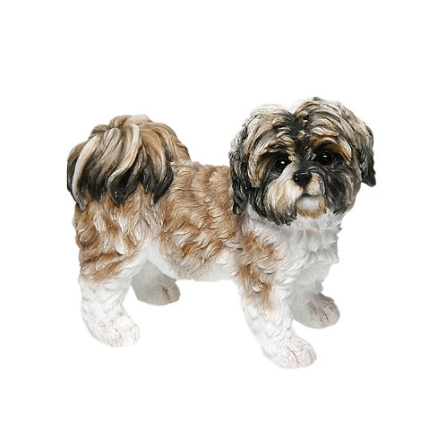 Brown & White Shih Tzu Figurine