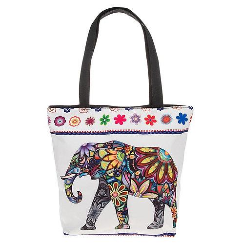 Floral Elephant Tote Bag