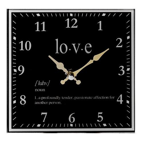 Hestia Black & Gold Mantel Clock - Love
