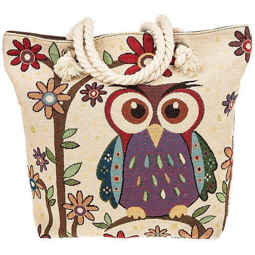 Equilibrium Tapestry Owl Flowers Large Tote