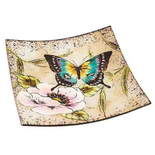 Peacock Butterfly Small Square Glass Plate