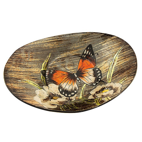 Amber Butterfly Small Oval Glass Bowl
