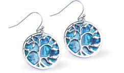 Paua Shell Tree of Life Drop Earrings