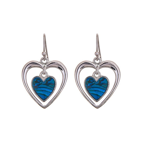 Paua Shell Heart within Heart Drop Earrings