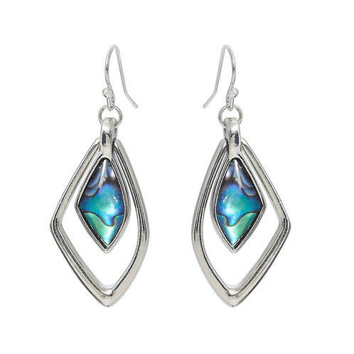 Paua Shell Geo Drop Earrings