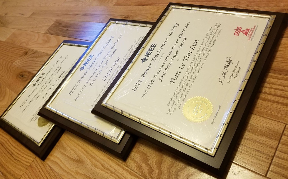 First Prize Paper Award in the IEEE Transactions on Power Electronics (TPEL)