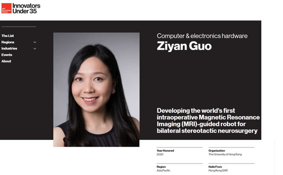 Dr. Ziyan Guo was elected one of Innovators Under 35 for the Asia Pacific Region by MIT Technology Review. Congratulations to her!