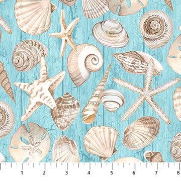 Coastal Christmas Sea Shells Blue
