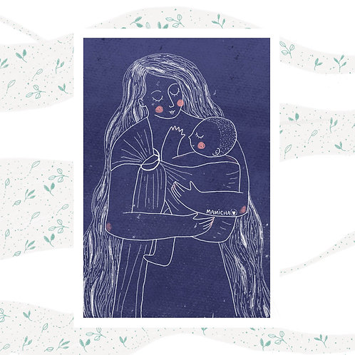 Postal - Mamá porteando azul