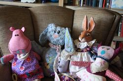 Animals with vintage fabrics. linens