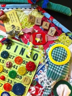 Vintage Buttons, game pieces quilt