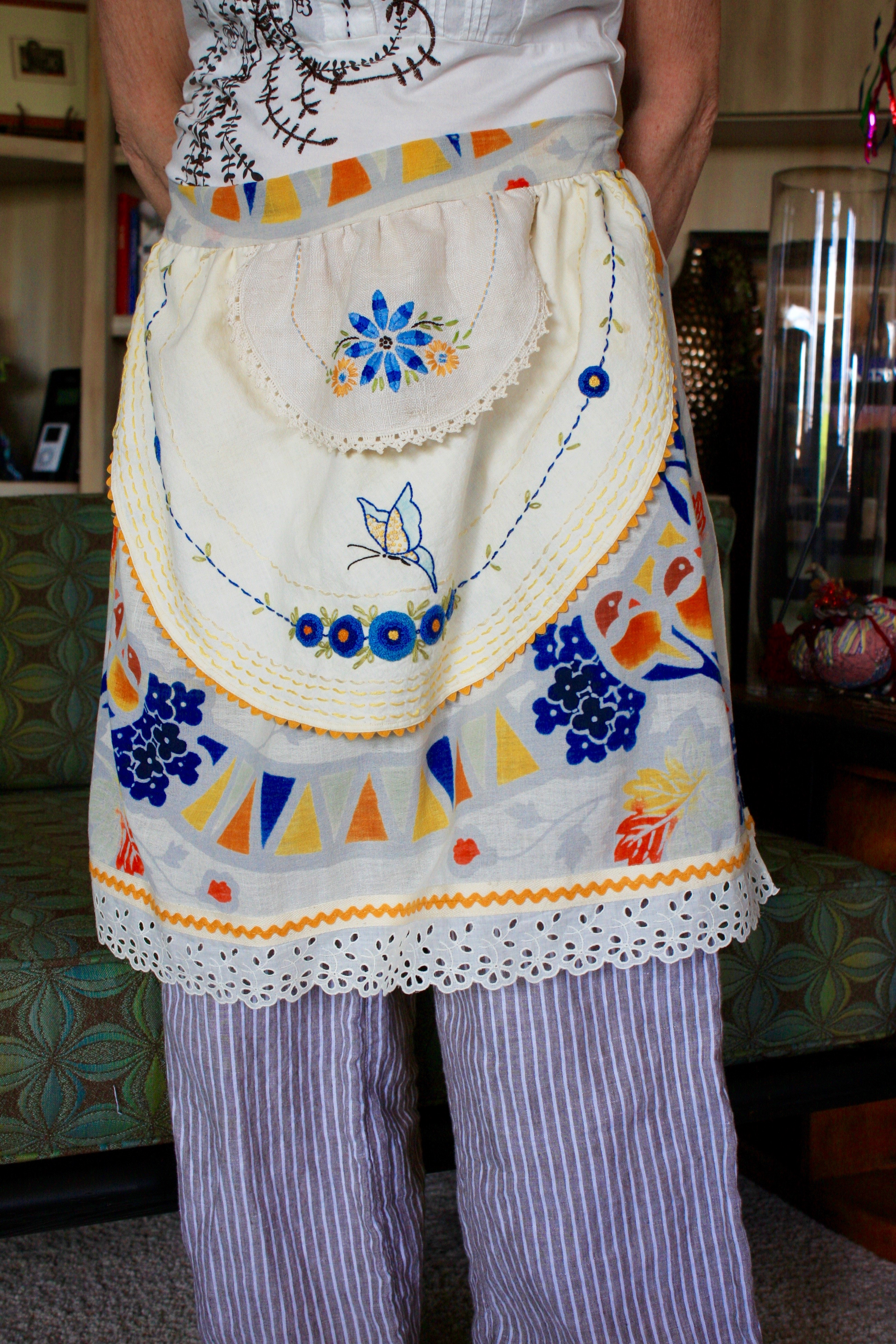 Apron from vintage linens