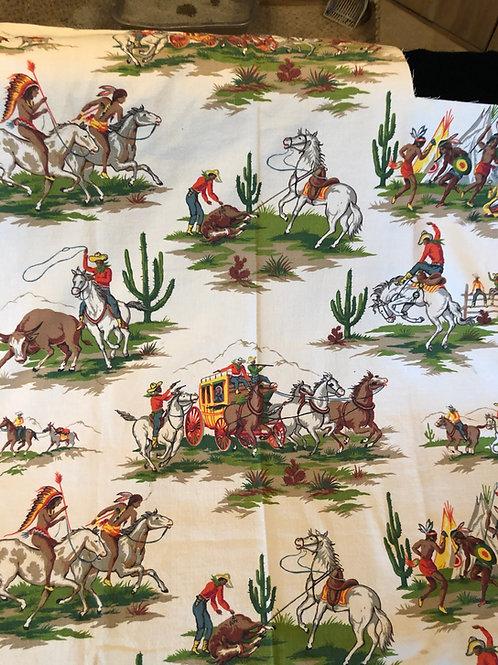 Vintage Cowboys and Indians Barkcloth Fabric
