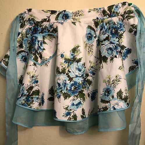 Blue Floral Reversible Half Apron