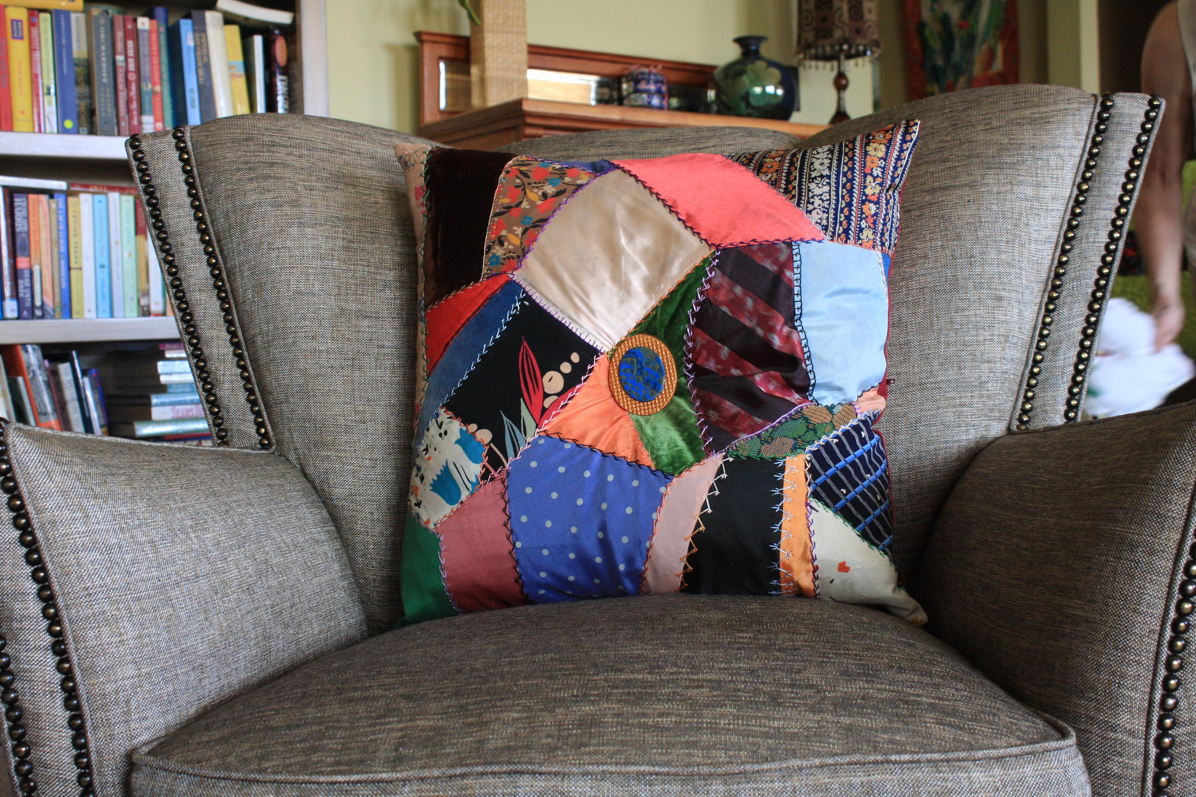 Vintage Crazy Quilt Pillow