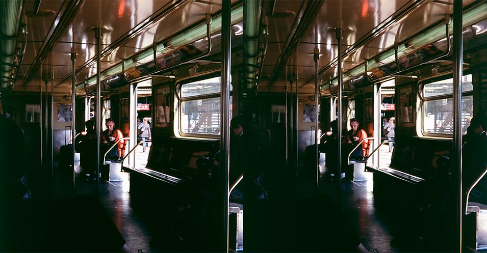 069_Z_GIRL ON TRAIN RED COAT PINK HAIR N